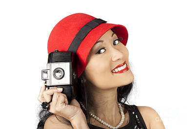 Cloche Photograph - Beautiful Chinese Woman Holding Old Film Camera by Jorgo Photography - Wall Art Gallery
