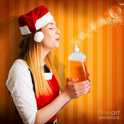 Photograph - Beautiful Christmas Girl Finishing Cleaning Chores by Jorgo Photography - Wall Art Gallery