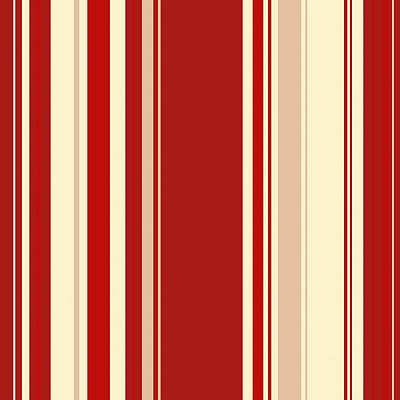 Digital Art - Modern Christmas Stripe Pattern Series Red Currant, Cream, Blush by Tina Lavoie
