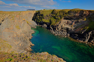 Surfing Magazine Photograph - Beautiful Coastal Inlet Turquoise Blue Sea Pepper Cove Between Treyarnon And Porthcothan From Path by Michael Charles