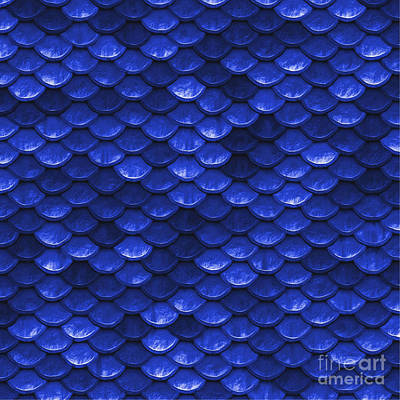 Scale Digital Art - Beautiful Cobalt Blue Mermaid Fish Scales by Tina Lavoie