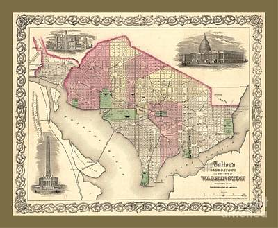 Work Place Drawing - Beautiful Collectable Vintage Wall Map Of Old Washington Dc With Landmarks And Monuments by Pd