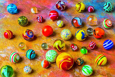Photograph - Beautiful Colored Glass Marbles by Garry Gay