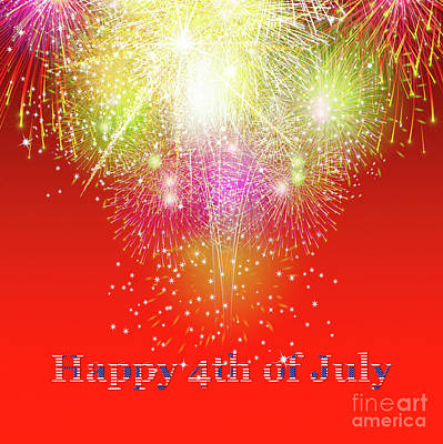 Background Photograph - Beautiful Colorful Holiday Fireworks Over Red Background. Happy 4th Of July Concept. by Dani Prints and Images