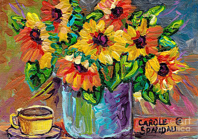 Painting - Beautiful Colorful Sunflowers In Blue Vase Original Painting By Carole Spandau by Carole Spandau