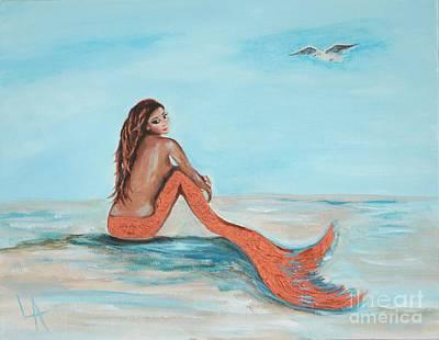 Painting - Beautiful Copper Mermaid by Leslie Allen