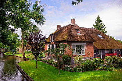 Photograph - Beautiful Cottage At Canal In Giethoorn by Jenny Rainbow