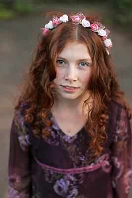 Photograph - Beautiful Curly Teenage Girl In A Wreath Of Flowers by Yana Shonbina