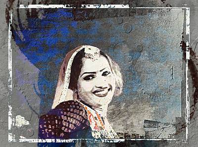 Photograph - Beautiful Dancer Portrait Woman Blue Rajasthani Udaipur India 1b by Sue Jacobi