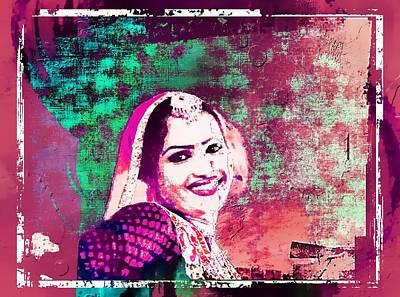 Beautiful Dancer Portrait Woman Pink Rajasthani Udaipur India 1a Art Print