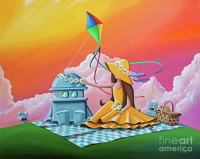 Kite Wall Art - Painting - Beautiful Day For A Picnic by Cindy Thornton
