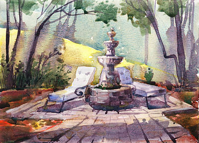Fountain Wall Art - Painting - Beautiful Day, Home by Kristina Vardazaryan