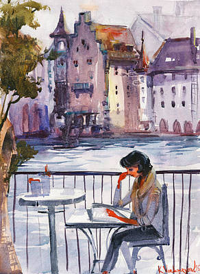 Charm Painting - Beautiful Day, Reading by Kristina Vardazaryan