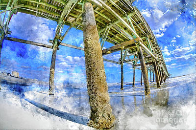 Digital Art - Beautiful Day Under Pier Watercolor by David Smith