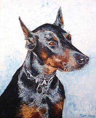 Doberman Painting - Beautiful Doberman by Tatjana Popovska