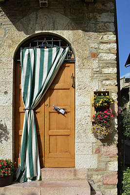 Beautiful Door With Curtain From Assisi. Art Print by Oana Unciuleanu