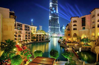 Beautiful Downtown Area In Dubai At Night, Dubai, United Arab Emirates Art Print