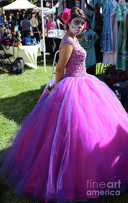 Dia De Los Muertos Photograph - Beautiful Dress Make Up Dad Of Dead  by Chuck Kuhn