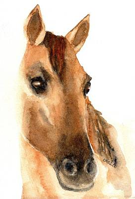 Chestnut Dun Horse Painting - Beautiful Dun Horse Watercolor by Carlin Blahnik