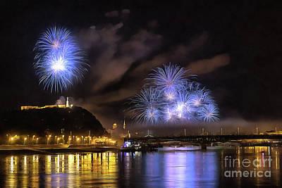 Beautiful Fireworks In Budapest Hungary Art Print