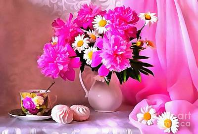 Painting - Beautiful Floral Table Setting Pink  by Catherine Lott