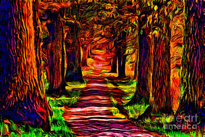 Painting - Beautiful Forest Road by Milan Karadzic