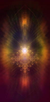 Radiating Chakra Painting - Beautiful Fractal Ornament Radiating White Light And Colorful Auric Lights  by Jozef Klopacka