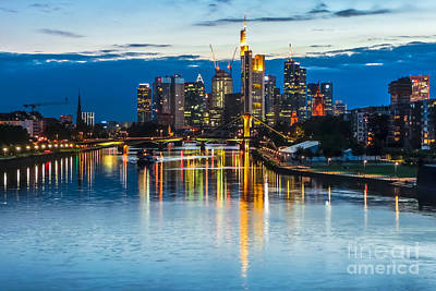Frankfurt Photograph - Beautiful Frankfurt Am Main Skyline At Night, Germany by JR Photography