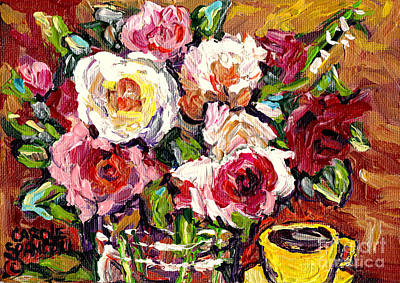Painting - Beautiful Fresh Roses In Glass Vase With Yellow Cup Original Painting By Carole Spandau by Carole Spandau