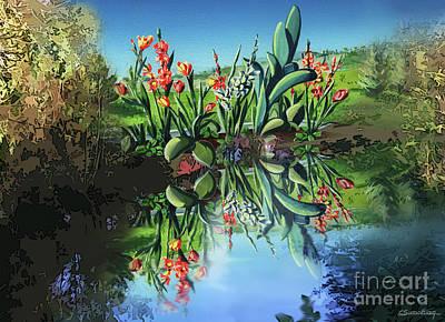 Reflecting Drawing - Beautiful Garden by Christian Simonian