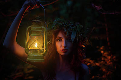 Beautiful Girl Holding A Lantern With A Wreath On His Head Stands Alone In The Woods. Witch Illumina Original by Y K
