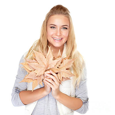 Photograph - Beautiful Girl With Maple Leaves by Anna Om