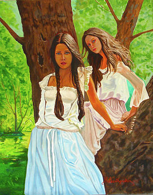 Painting - Beautiful Girls by Kostas Dendrinos