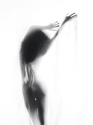 Beautiful Graceful Silhouette Of A Naked Woman In Glowing Misty  Art Print