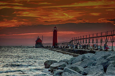 Photograph - Sunset At Grand Haven Pier by Pat Cook