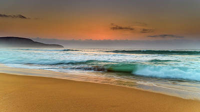 Beautiful Hazy Sunrise Seascape  Art Print