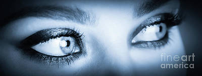 Photograph - Beautiful, Healthy Eyes Close-up In Blue Tone. by Michal Bednarek