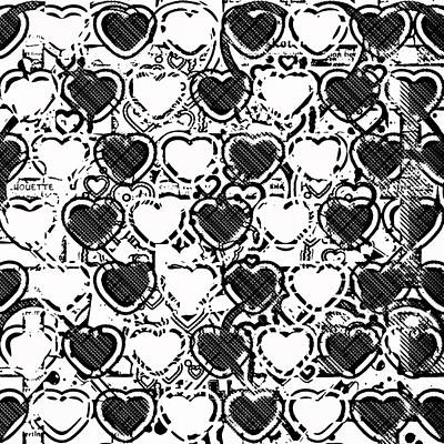 Burnt Digital Art - Beautiful Hearts Bw by Tommytechno Sweden