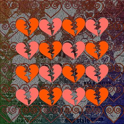 Burnt Digital Art - Beautiful Hearts, Mixed With Modern Style by Tommytechno Sweden
