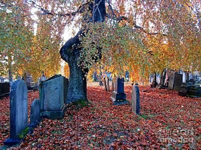 Fallen Leaf Mixed Media - Beautiful Historic Camp Hill Cemetery Halifax Nova Scotia by John Malone