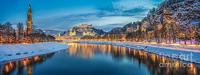 Art History Meets Fashion Rights Managed Images - Beautiful historic city of Salzburg in winter at night Royalty-Free Image by JR Photography