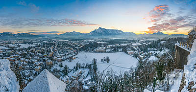 Skyline Photograph - Beautiful Historic City Of Salzburg In Winter At Sunset, Austria by JR Photography