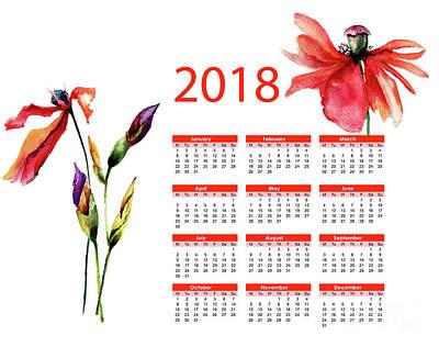 Mixed Media - Beautiful Iris And Poppy Flowers by Regina Jershova