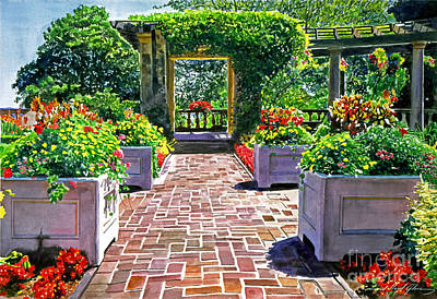 Flowerpots Painting - Beautiful Italian Gardens by David Lloyd Glover
