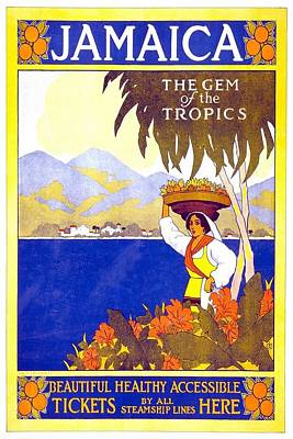 Landscapes Royalty-Free and Rights-Managed Images - Beautiful Jamaican Landscape Illustration - Vintage Travel Poster - Gem of the Tropics by Studio Grafiikka