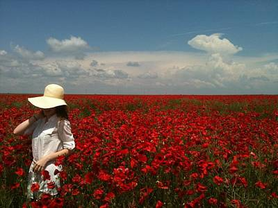 Poppies Field Painting - Beautiful Lady And Red Poppies by Georgeta  Blanaru