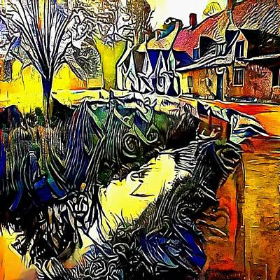 Beautiful Creek Drawing - Beautiful Landscape With Forest River And Old Wooden Water Mills.  - My Www Vikinek-art.com by Viktor Lebeda