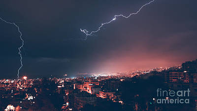 Photograph - Beautiful Lightning Over City by Anna Om