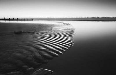 Beautiful Low Tide Beach Vibrant Sunrise In Black And White Art Print by Matthew Gibson