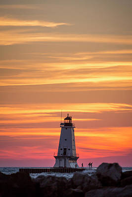 Marquette Wall Art - Photograph - Beautiful Ludington Lighthouse Sunset by Adam Romanowicz